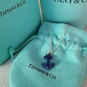 Tiffany & Co Lapis Anchor Necklace *RARE*
